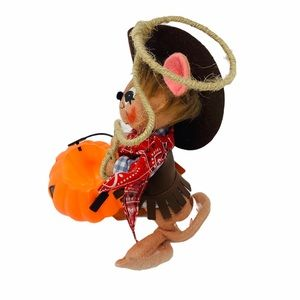 """Annalee Holiday - Annalee Cowboy Mouse Halloween Collectible 6"""" 2004"""